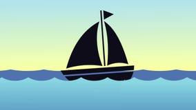 Animatie van schipsilhouet die over het overzees bij zonsondergang varen royalty-vrije illustratie