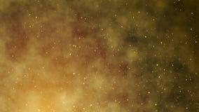 Animatie van schitterende gouden vonken die op een wolkenachtergrond vliegen De lengte van de glamourpartij 4k royalty-vrije illustratie