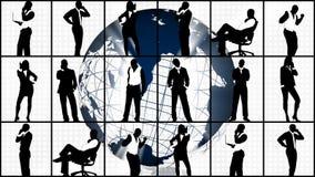 Animatie van silhouetten die bedrijfsconcept tonen stock illustratie