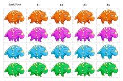 Animatie van vier het grappige dinosaurussen lopen stock illustratie