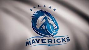 Animatie van vlag met symbool van Basketbal Dallas Mavericks Redactieanimatie stock illustratie