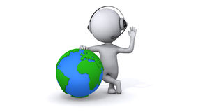 Animatie van witte mensentribune met aarde stock illustratie