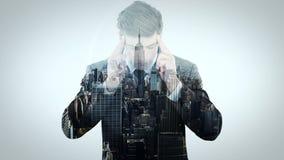 Animatie van zakenman het denken stock video