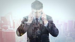 Animatie van zakenman het denken stock videobeelden