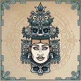 Animatieportret van de heidense die godin op motieven van kunst Inheemse Indiaan wordt gebaseerd royalty-vrije illustratie