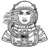 Animatieportret van de jonge aantrekkelijke vrouwenastronaut in een ruimtepak De helm is open, haaropwinding Stock Afbeelding