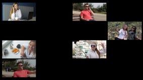 Animatiesamenstelling van het gebruiken van smartphone Technologiconcept stock video
