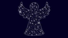 Animation à l'arrière-plan bleu avec l'ange fait avec la neige et les étoiles clips vidéos