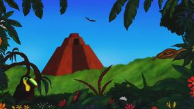 Ancient pyramid in the mexican jungle rainforest 2019  animation MP4 stock video footage