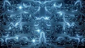 Animation abstraite de boucle de circuit bleu banque de vidéos