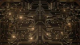 Animation abstraite de boucle de circuit d'or banque de vidéos