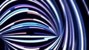 Animation abstraite de fond de l'écoulement bleue, lignes pourpres et blanches sur le fond noir Beau mouvement abstrait de illustration stock