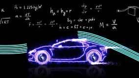 Animation aerodynamics theory and physics mathematical formula equation with car model with doodle
