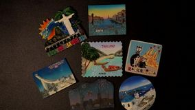 Animation - appearance of fridge magnets. From different countries. Trip around the world. Souvenirs from Eurotrip - Europe. Travelling everywhere stock footage