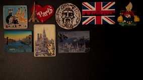 Animation - appearance of fridge magnets. From different countries. Trip around the world. Souvenirs from Eurotrip - Europe. Travelling everywhere stock video