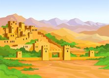 Animation Arab city illustration stock
