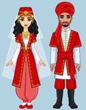Animation Arab family in ancient clothes. Full growth. Vector illustration isolated on a blue background Stock Image
