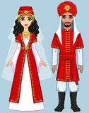 Animation Arab family in ancient clothes. Full growth. Vector illustration isolated on a blue background Royalty Free Stock Photos