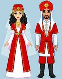 Animation Arab family in ancient clothes. Royalty Free Stock Photography