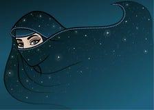 Animation Arab woman in a burqa. Stock Photo