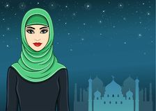 The animation Arab woman in a hijab. Royalty Free Stock Image