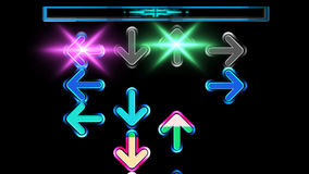 Animation arrows moving up the screen background dancing game. Seamless animation arrows moving up the screen and disappear on the top. Colorful arrows in vector illustration