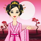 The animation Asian beautiful woman in a traditional dress invites to travel. Royalty Free Stock Images