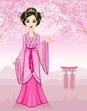 The animation Asian girl in a traditional dress on a mountain landscape. Vector illustration: The animation Asian girl in a traditional dress on a mountain Stock Photos