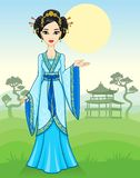 The animation Asian girl in a traditional dress on a mountain landscape. Royalty Free Stock Photo