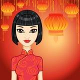 Animation Asian girl. Vector illustration: Animation Asian girl with festive lamps Stock Photos