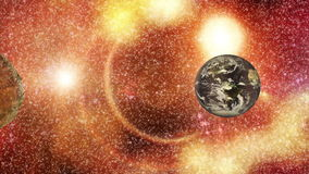 Animation - asteroid - earth. Animation on space - asteroid flies in the direction of earth stock footage