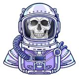Animation Astronaut skeleton in a space suit. Color drawing. Vector illustration isolated on a white background. Print, poster, t-shirt, card Royalty Free Stock Images