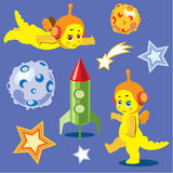 Animation astronauts dragons. With the rocket and models of planets Royalty Free Stock Photos