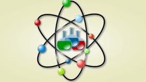 Animation of atom scheme with laboratory flasks stock footage