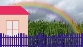 Animation avec l'illustration et la vidéo d'une plantation banque de vidéos
