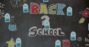 Animation of back to school text over school icons
