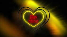 Animation of be mine in red with white and yellow neon hearts flashing on black with light blurs