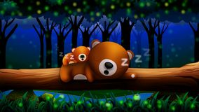 Animation bear cartoon sleeping in the forest, Best loop video background to put a baby to sleep, calming relaxing