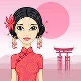 Animation beautiful Chinese girl Royalty Free Stock Photography
