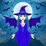 Animation beautiful witch operates pack of bats. A background - the night sky. Vector illustration Royalty Free Stock Images