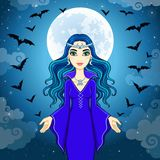 Animation beautiful witch operates pack of bats. Royalty Free Stock Photography