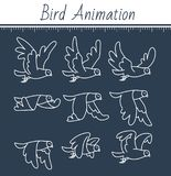 Animation the bird is flying black. Animation the bird is flying. dove animation. sprite bird flies, on black background. icon in the linear style. Can be used Stock Images