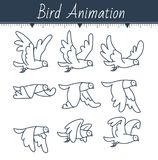 Animation the bird is flying. Dove animation. sprite bird flies, on white background. icon in the linear style. Can be used for GIF animation Royalty Free Stock Photo