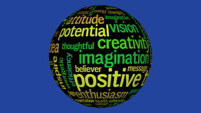 Animation of black sphere with positive thinking tag cloud stock video