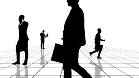 Animation of a black and white grid with business people silhouettes moving towards the camera. Seamlessly loopable stock illustration