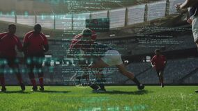 Animation of blue data processing and floating over two multi-ethnic rugby teams playing rugby
