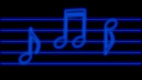 Animation of blue glowing music notes in neon light which they jump in rhythm