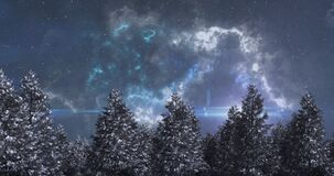 Animation of blue glowing shooting star and clouds moving over winter landscape on night sky