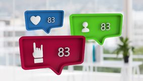 Person, love and rock thumbs up symbols and increasing numbers over blurred room. Animation of blue, green and red speech bubbles with a heart, a person and a stock video footage