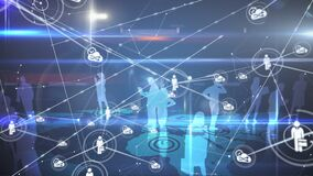 Animation of blue silhouettes of business people and network connection
